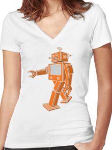 Robot Walk Women's Fitted V-Neck T-Shirt