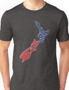 Kia ora = Hello in the Māori language; New Zealand Map, Country, North Island & South Island, Blue & Red, NZ Unisex T-Shirt
