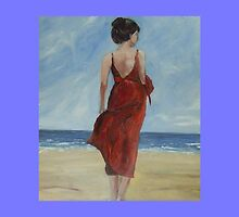 A walk along the beach. blue by Caroline Martin