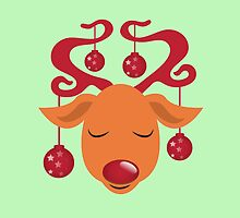 Cute red nosed reindeer with red nose by jazzydevil