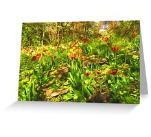 Impressions of Gardens - the Untamed Tulip Forest in Spring Greeting Card