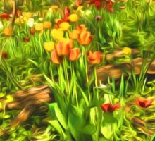 Impressions of Gardens - the Untamed Tulip Forest in Spring Sticker
