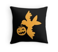 Pumpkin flying bird with wings Throw Pillow