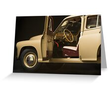 retro car interior on a black background Greeting Card