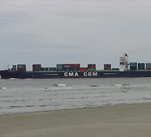Cloudy Day Deport of a Cargo Ship by Michelle Burley