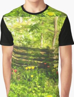 Impressions of Gardens - Colorful Tulips and a Rustic Fence Graphic T-Shirt
