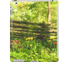 Impressions of Gardens - Colorful Tulips and a Rustic Fence iPad Case/Skin