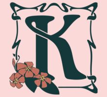 Fancy art nouveau letter K, flower Kids Tee