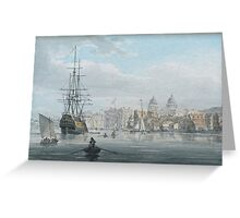 Robert Cleveley  GREENWICH FROM THE RIVER THAMES c 1791 Greeting Card