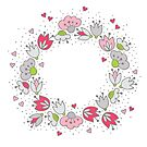 romantic wreath of pink flowers and hearts  by demonique