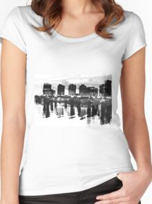 Docklands Melbourne B&W Women's Fitted Scoop T-Shirt