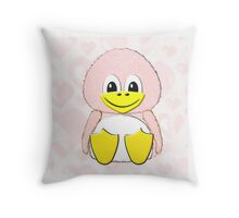 Penguin Baby on Hearts - Throw Pillow Throw Pillow