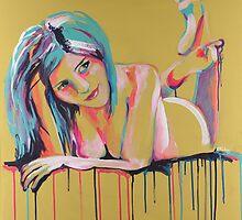 She Brings the Color (throw cushion) by Sara Riches