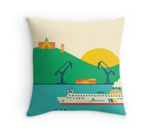 Sunrise at the Port Throw Pillow