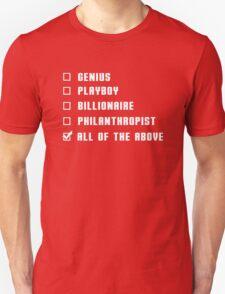Genius Billionaire Playboy Philanthropist (White) T-Shirt