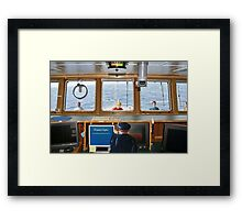 """The captain had no idea that panic would ensue when he said, 'I can't talk now--I'm synching."""" Framed Print"""