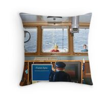 """The captain had no idea that panic would ensue when he said, 'I can't talk now--I'm synching."""" Throw Pillow"""