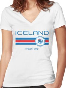 Euro 2016 Football - Iceland (Away White) Women's Fitted V-Neck T-Shirt