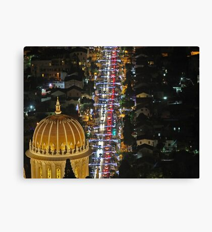 Israel, Haifa, The city is lit up with Christmas decorations Canvas Print