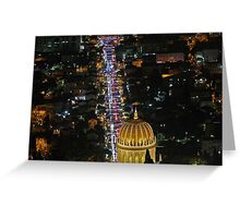 Israel, Haifa, The city is lit up with Christmas decorations Greeting Card