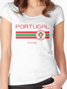 Euro 2016 Football - Portugal (Away White) Women's Fitted Scoop T-Shirt