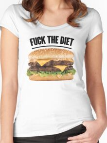 FUCK THE DIET-BLACK Women's Fitted Scoop T-Shirt