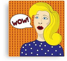 Pop art girl. The shouting blond woman Canvas Print