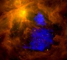 The Orion nebula in the infrared overlaid with XMM-Newton X-ray data in blue. by StocktrekImages
