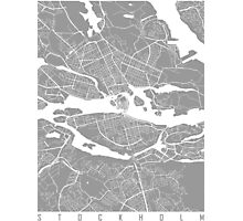 Stockholm map grey Photographic Print