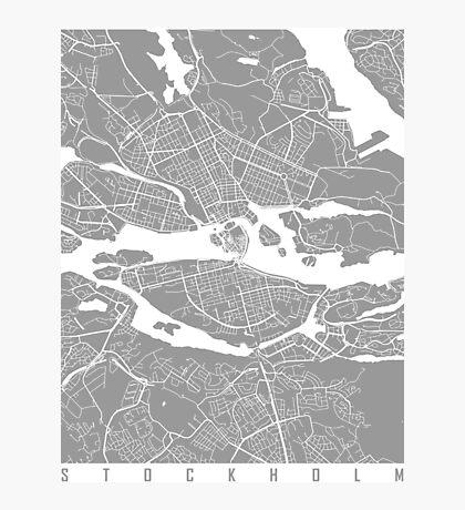 Stockholm map grey Photographic Print