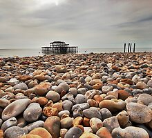 Brighton: Pebbles and Old Pier by JLaverty