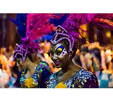 Costumed Attractive Dancer Woman at Carnival Parade of Uruguay Photographic Print