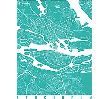 Stockton map turquoise Photographic Print
