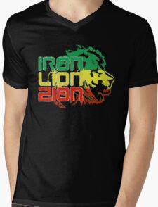 Reggae Rasta Iron, Lion, Zion Mens V-Neck T-Shirt