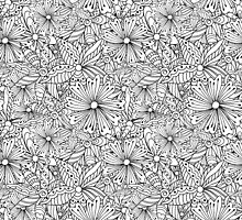 Monochrome doodle flowers  by Mashot