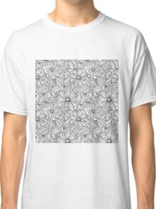 Monochrome doodle flowers  Classic T-Shirt