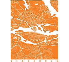 Stockholm map orange Photographic Print