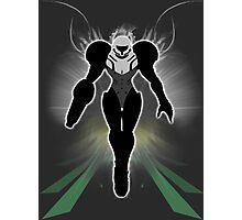 Super Smash Bros. White/Light Suit Samus Silhouette Photographic Print