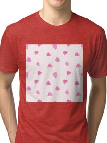 Sweat pink watercolor hearts Tri-blend T-Shirt