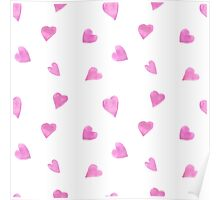 Sweat pink watercolor hearts Poster