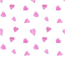 Sweat pink watercolor hearts by Mashot