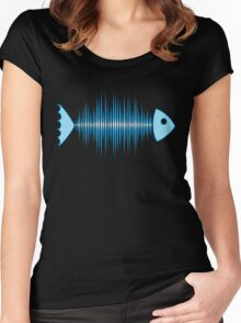 Music Fish Pulse Rate Frequency Dance House Techno Wave Women's Fitted Scoop T-Shirt