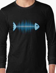 Music Fish Pulse Rate Frequency Dance House Techno Wave Long Sleeve T-Shirt