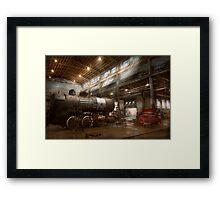 Locomotive - Locomotive repair shop Framed Print