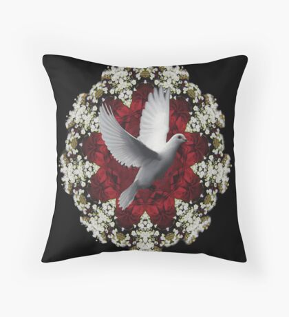 BEAUTIFUL DOVE  WITH BABYS BREATH FLOWERS THROW PILLOW Throw Pillow