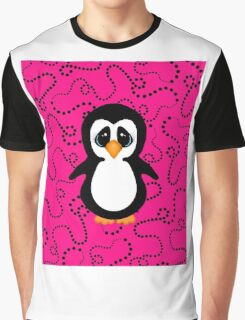 Penguin on Pink and Black Swirling Dots  Graphic T-Shirt