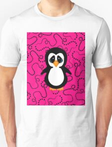 Penguin on Pink and Black Swirling Dots  T-Shirt