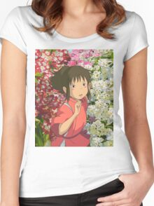 Running through the Flowers - Spirited Away Women's Fitted Scoop T-Shirt