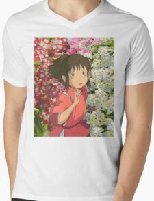 Running through the Flowers - Spirited Away Mens V-Neck T-Shirt