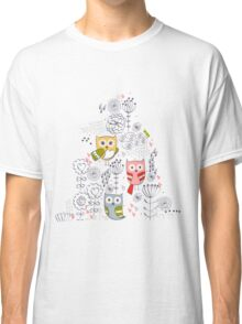Cute owl and flowers  Classic T-Shirt